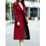 Double Breasted Wool Blend Lapel Collar Coat deal