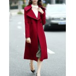 cheap Double Breasted Wool Blend Lapel Collar Coat