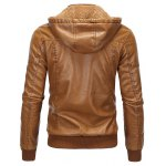 cheap Detachable Hooded Flocking PU Leather Thicken Jacket