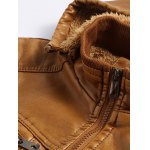 Detachable Hooded Flocking PU Leather Thicken Jacket deal