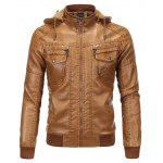 Detachable Hooded Flocking PU Leather Thicken Jacket