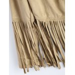 Fringed Faux Suede Open Front Jacket for sale