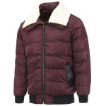 Removable Faux Lamb Fur Collar Zip Up Padded Jacket