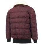 cheap Removable Faux Lamb Fur Collar Zip Up Padded Jacket