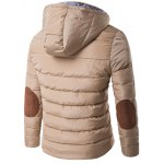 cheap Horn Button Hooded Zip Up Elbow Patch Down Jacket