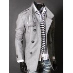 cheap Epaulet Zipper Design Double Breasted Wool Blends Coat