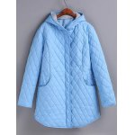 Plus Size Hooded Grid Quilted Coat