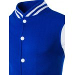 Stand Collar Striped Color Block Baseball Jacket deal