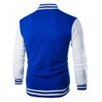cheap Stand Collar Striped Color Block Baseball Jacket