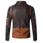 cheap Plus Size Color Block Splicing Design Zip Up PU Leather Jacket