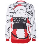 cheap Santa Claus Striped Graphic Pullover Christmas Sweatshirt