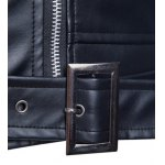 Turndown Collar Zippers Design PU Leather Jacket photo