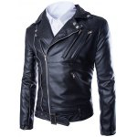 cheap Turndown Collar Zippers Design PU Leather Jacket