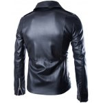 Turndown Collar Zippers Design PU Leather Jacket deal