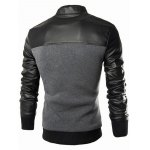 cheap PU Leather Splicing Design Stand Collar Single Breasted Jacket