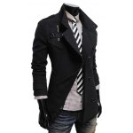 Stand Collar Double Breasted Zip Embellished Coat deal