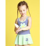 Girls Stripe Hollow Out One Piece Swimsuit