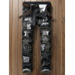 Plus Size Zipper Fly Stud and Appliques Design Straight Leg Jeans