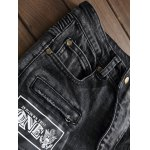 Plus Size Zipper Fly Stud and Appliques Design Straight Leg Jeans deal