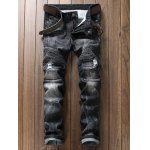 Plus Size Zipper Fly Rib and Holes Design Straight Leg Jeans