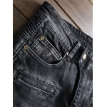 Plus Size Zipper Fly Rib and Holes Design Straight Leg Jeans deal