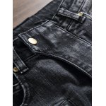 Plus Size Zipper Fly Rib and Holes Design Straight Leg Jeans for sale