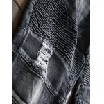 Plus Size Zipper Fly Rib and Holes Design Straight Leg Jeans photo