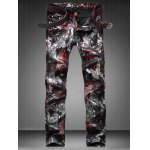 Plus Size Zipper Fly Color Block Abstract Print Straight Leg Jeans