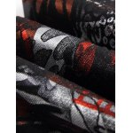best Plus Size Zipper Fly Color Block Abstract Print Straight Leg Jeans
