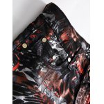 Plus Size Zipper Fly Color Block Abstract Print Straight Leg Jeans deal