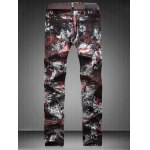 cheap Plus Size Zipper Fly Color Block Abstract Print Straight Leg Jeans