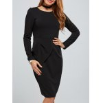 Zippered Long Sleeve Bodycon Dress With Belt