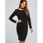 cheap Zippered Long Sleeve Bodycon Dress With Belt