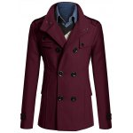 Stand Collar Zipper Design Double Breasted Woolen Blends Coat