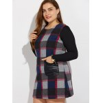 Plus Size Long Sleeve Checked Mini Dress for sale