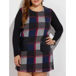 Plus Size Long Sleeve Checked Mini Dress