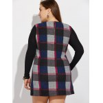 best Plus Size Long Sleeve Checked Mini Dress