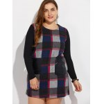 Plus Size Long Sleeve Checked Mini Dress deal