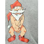 Stand Collar Bare Father Christmas Print Color Block Baseball Jacket deal
