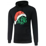 Hooded Long Sleeve Christmas Hat Print Hoodie