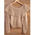 cheap Flounced High-Low Fuzzy Sweater