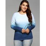 cheap Long Sleeve Gradient Color Tee