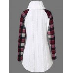 cheap Plaid Cable Knit Tunic Sweater