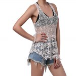 Crochet Floral Lace Tank Top - OFF-WHITE