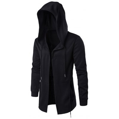 Drawstring Open Front Hoodie