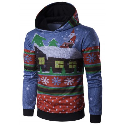 Hooded Father Christmas and House Print Hoodie