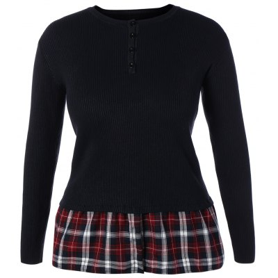 Skinny Ribbed Sweater With Plaid Inset