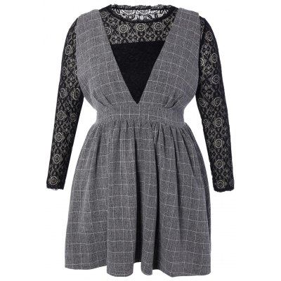 Top and High Waisted Pinafore Dress