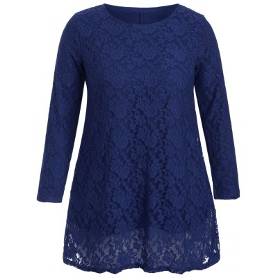 Hollow Out Long Sleeve Mini Lace Dress
