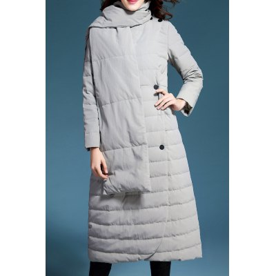 Long Double Breasted Down Coat with Scarf